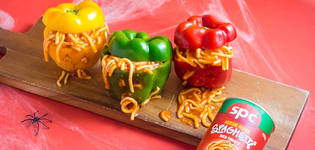 Spooky Spaghetti Stuffed Capsicums