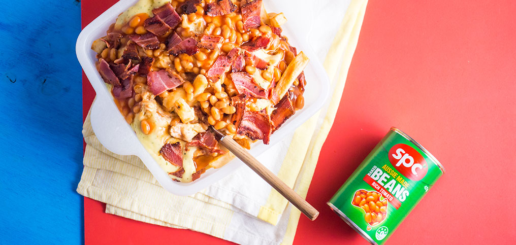 Loaded fries with Baked Beans