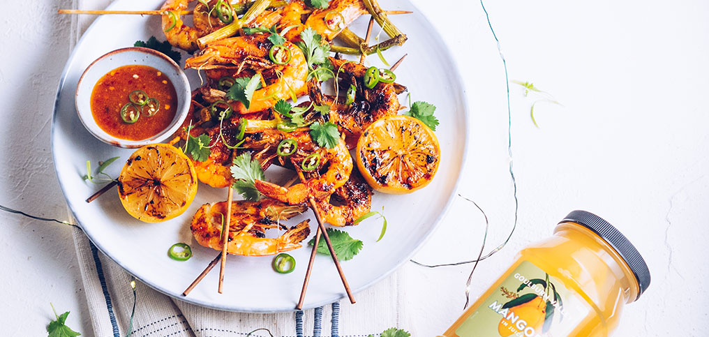 Mango and Sweet Chilli Marinated Prawn Skewers