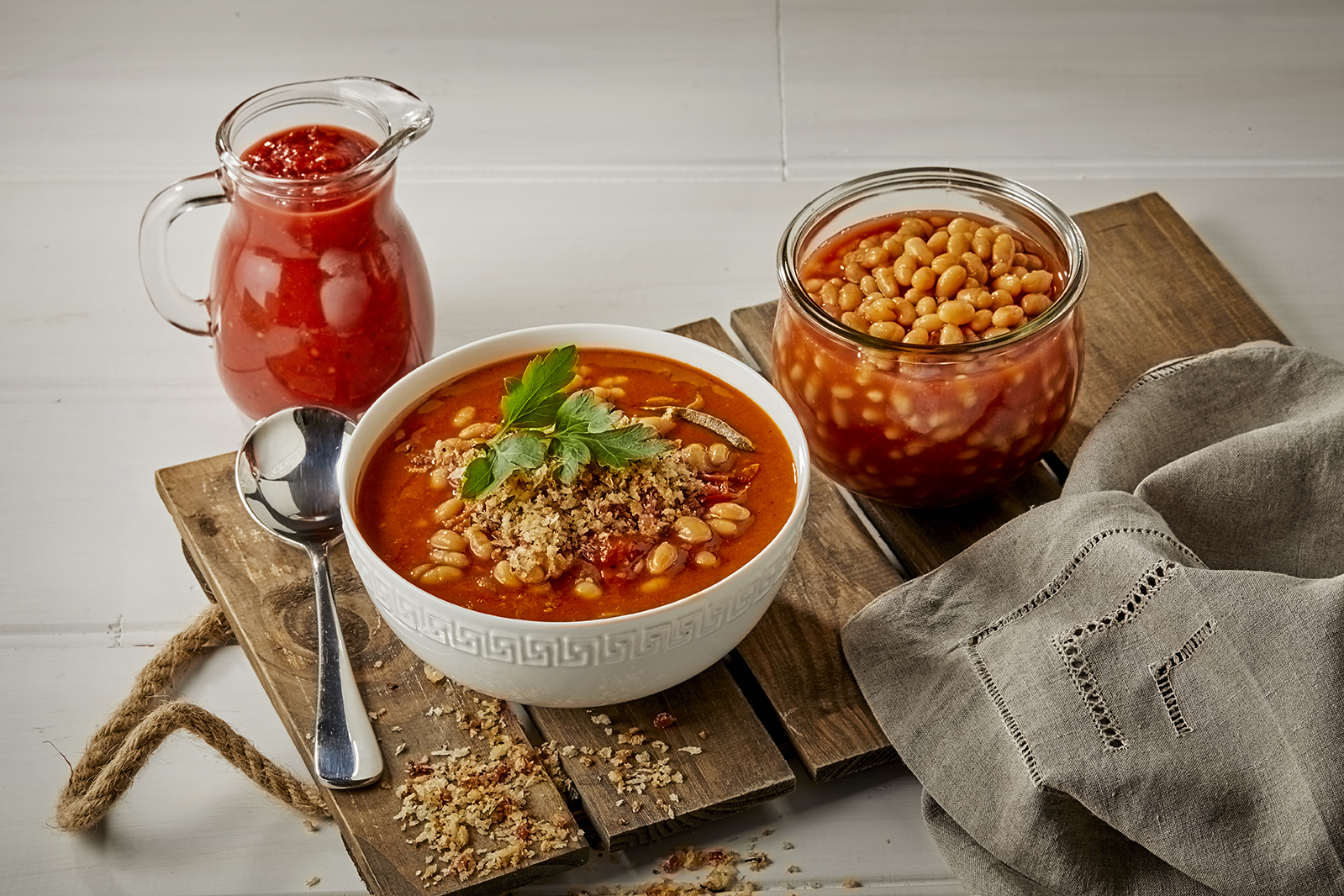 Smokey Tuscan Style Bean Soup with Bacon Crumbs
