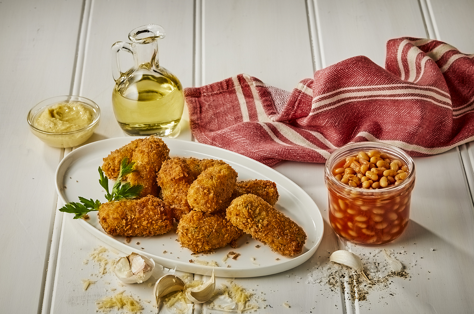 Baked Bean and Mozzarella Croquettes
