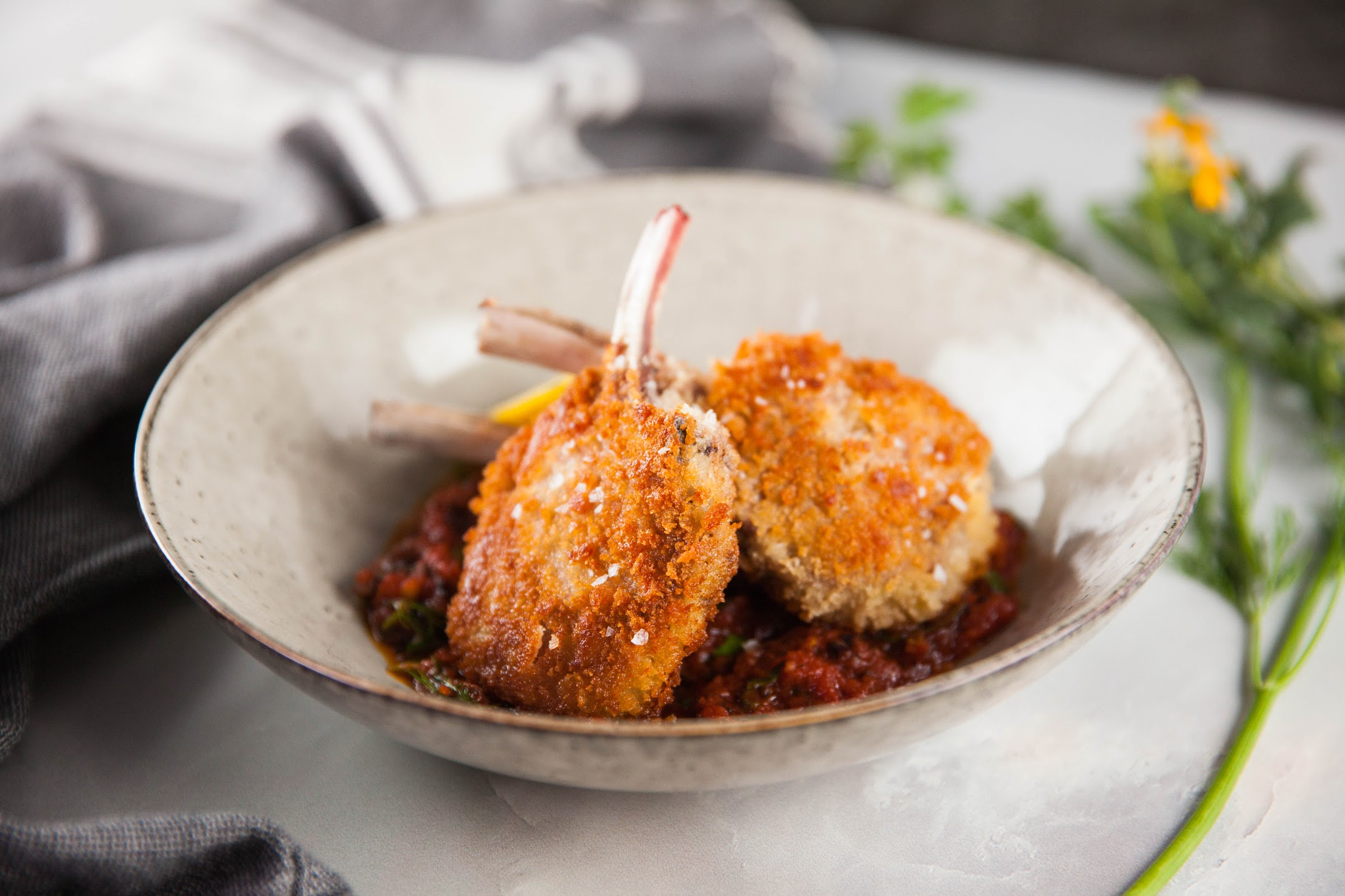 Lamb Cutlets and Herby Tomato Sauce