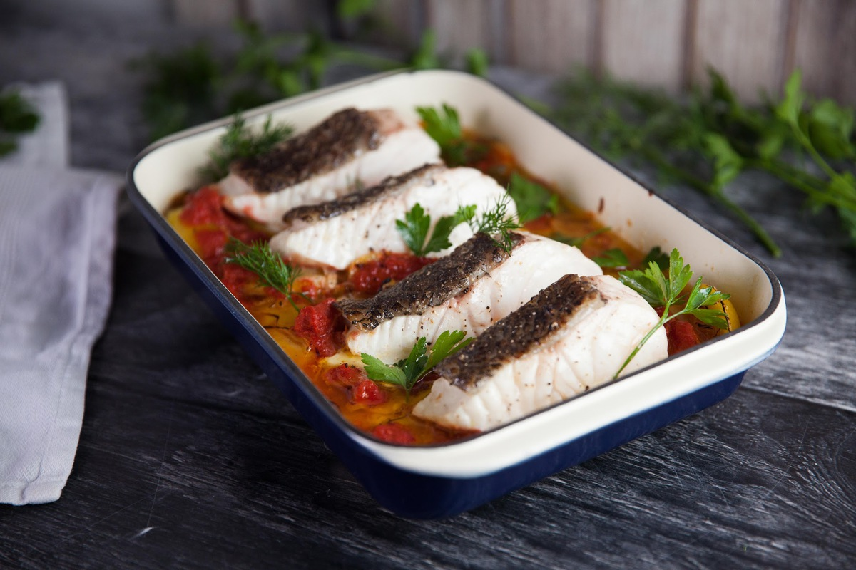 Baked Fish on Potatoes with Ardmona Tomatoes