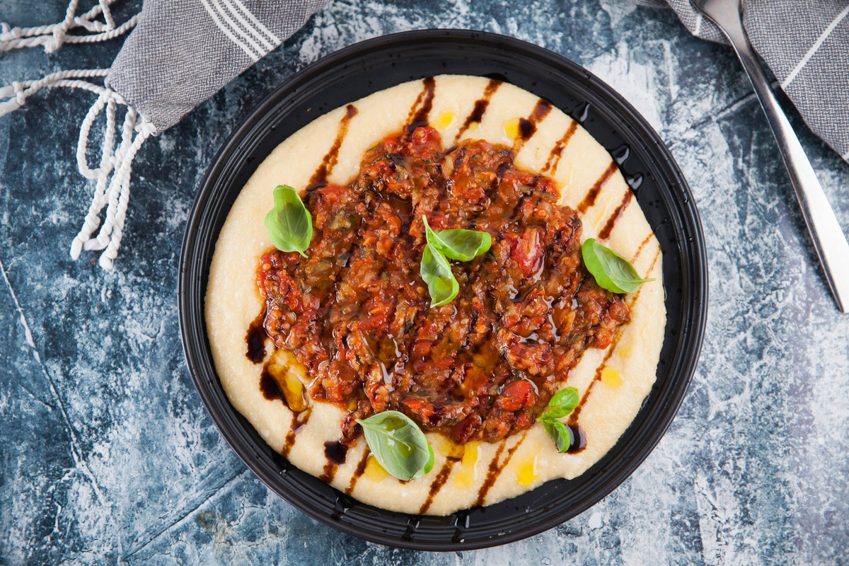 Polenta with Zucchini and Tomato Sauce