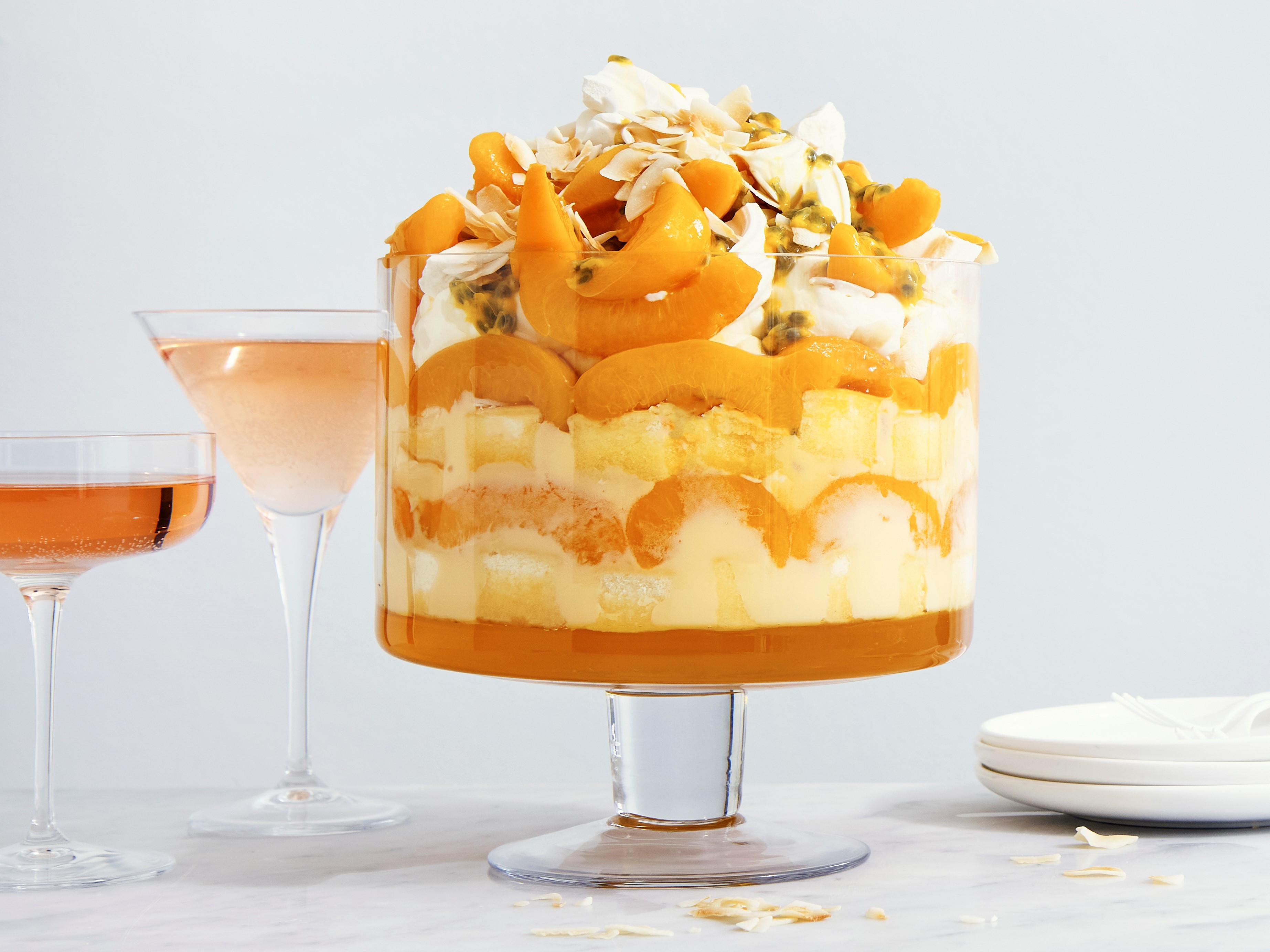 Peach and Coconut Trifle