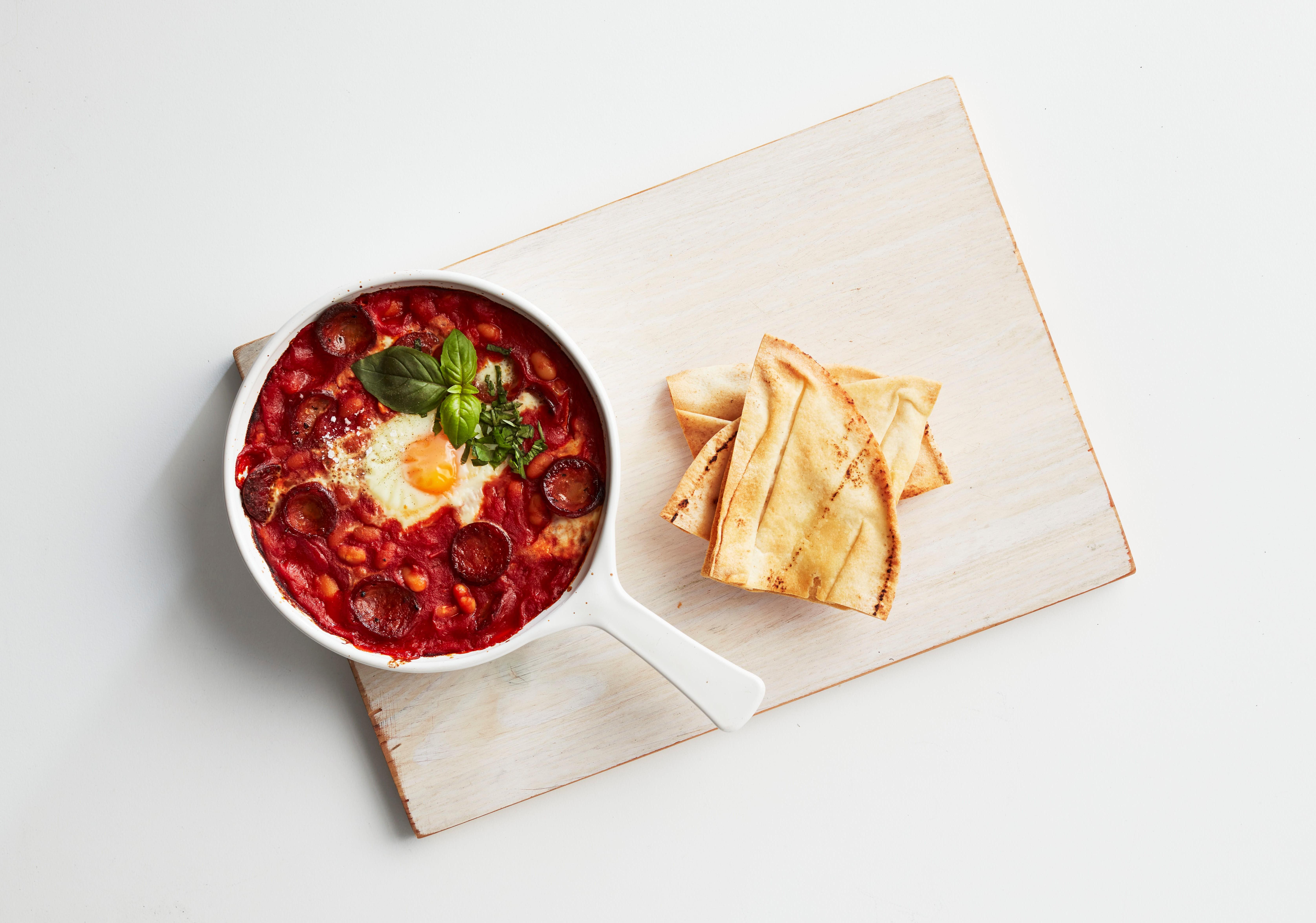 Baked Beans & Chorizo Egg Pot