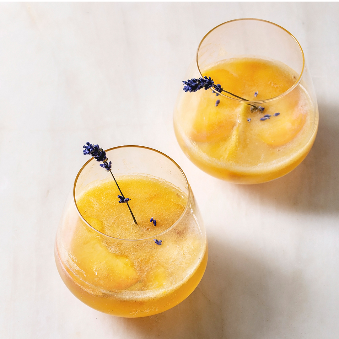 Peach Strawberry Champagne Cocktail