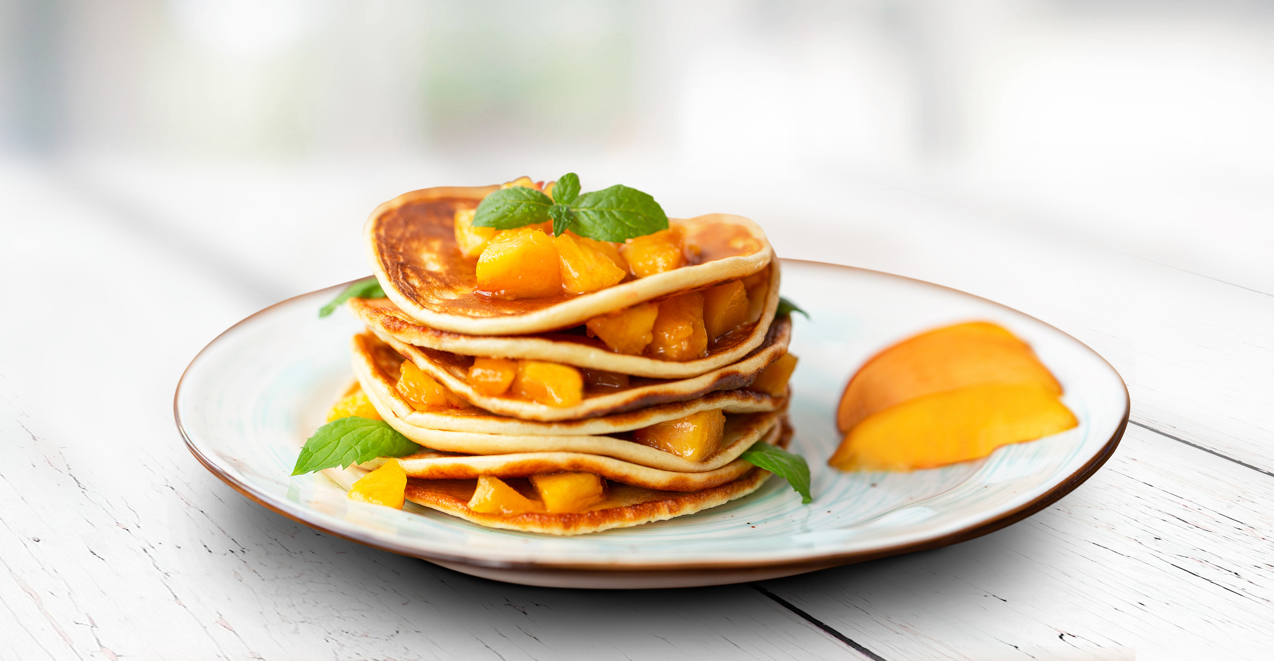 Easy Peach Pancake Stack