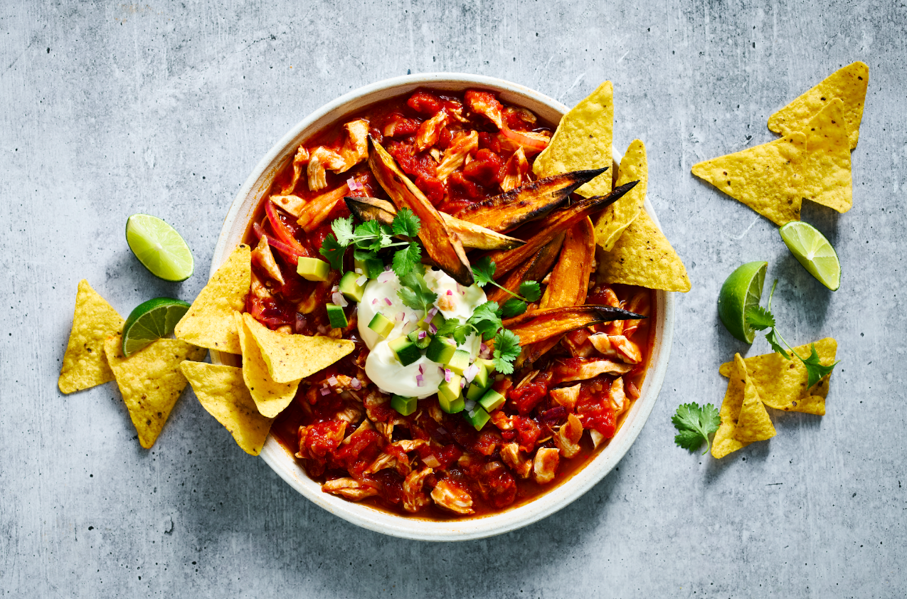 Mexican Chilli Chicken with Sweet Potato Wedges